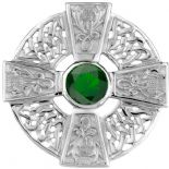 Scottish Thistle Silver Cross Brooch with Emerald colour stone 0685